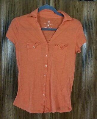 NY&C New York & Company Orange Cotton Short Sleeve Button Up Shirt Women
