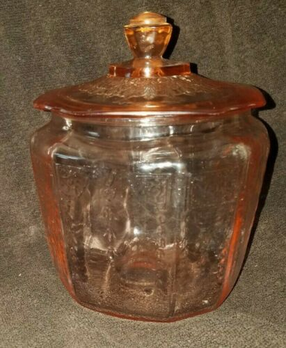 Vintage Pink Depression Biscuit/Cracker Jar