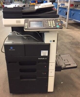 Konica Minolta Bizhub 222 Black White Copier Printer Scanner And Fax Machine