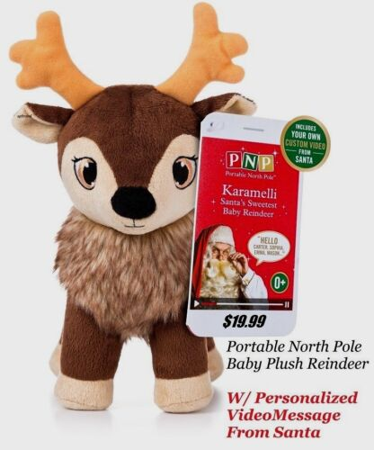 Plush North Pole Baby Christmas Reindeer w/Personalized Video Message from Santa