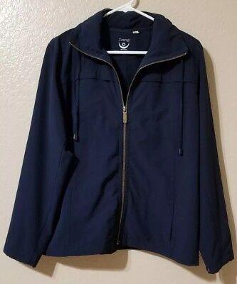 Zenergy by Chico's Jacket Full Zip Front Navy  Blue Sz 1 Hidden Hood Lightweight