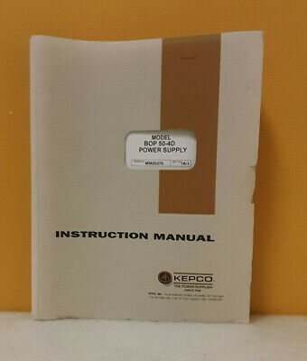 Kepco 243-0665 Bop 50-4m Bipolar Operational Power Supply Instruction Manual