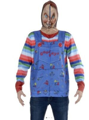 Faux Real Chucky Full Face Sublimated Adult Zip Hoodie Halloween Costume F152588 - Halloween Zip Face Costume