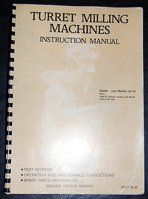 Lagun Ft Series Ft-1s 2s And 3 Milling Machine Instructions And Parts Manual