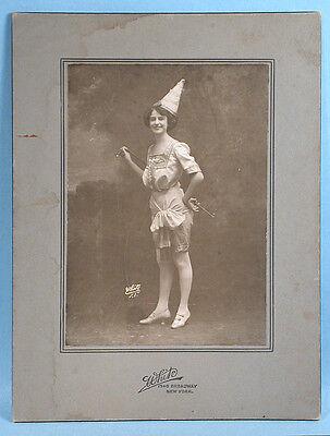 1900-10s Halloween Masquerade Pretty Girl Original Mounted Photo Card NY Studio - Halloween Photo Card