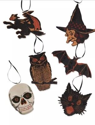 Bethany Lowe Halloween Vintage Image Ornaments—Set of 6–retired