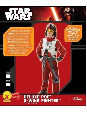 NEW Star Wars Deluxe Poe Xwing Fighter Fancy Dress Costume/Outfit 5-6 & 7-8years