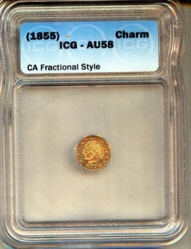 1855 CALIFORNIA  1/2 GOLD TOKEN CHOICE AU - ICG AU58 - RARE  !