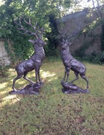 PAIR OF LIFE SIZE BRONZE STAGS