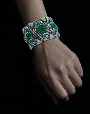 Lab Emerald Sterling Silver Broad Bracelet for Women Contemporary Design Diamond
