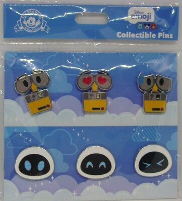 Disney Trading Pins ** EMOJI  - WALL-E AND EVE **  Sealed Booster Set of 6