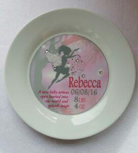 New Baby Girl Magic Fairy Personalised Birth Christening Plate Keepsake Gift