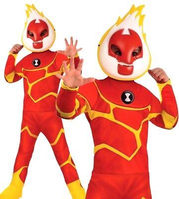 HEATBLAST Boys Ben 10 Official Fancy Dress Costume Alien TV Kids World Book - Ben 10 Kostüm