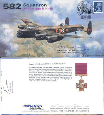 AV600 WWII WW2 582 Sqn VC Lancaster PFF BENNINGTON DFM hand signed cover