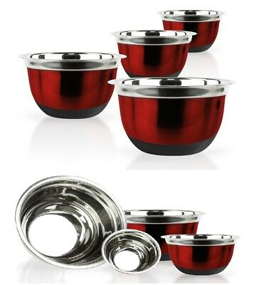 Red Stainless Steel Mixing Bowl Set W/ Silicone Bottoms - 4 Pieces Nested (Stainless Steel Bowl Set)