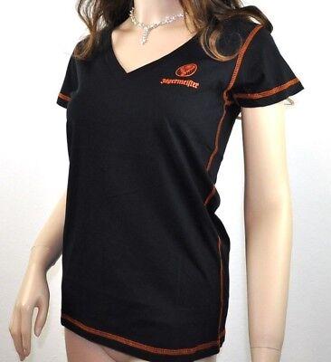 Jägermeister USA Damen V-neck T-shirt Größe M/L Hirsch Logo schwarz orange Naht