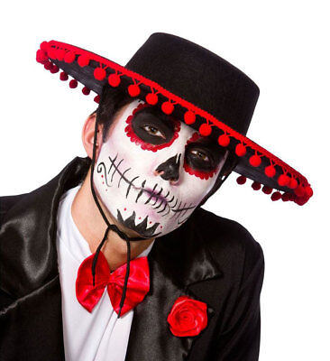 Day Of The Dead Mariachi Band Hat Fancy Dress Spanish Mexican Halloween Adult ()