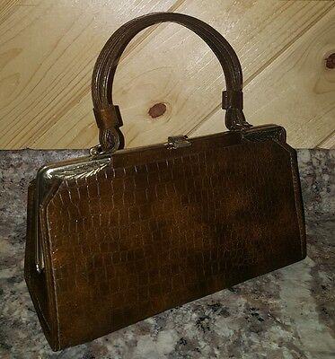Vtg 1950's JACLYN USA Framed ALLIGATOR Clutch SOPHISTICATED Wrist Handbag NICE!