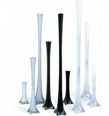 12pc Wedding Eiffel Tower vase Centerpiece Decorations Clear White Black-6 Size -