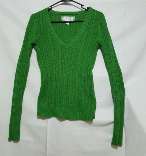 American Eagle Womens V-neck Cable Knit Sweater Green Size Small
