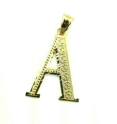 10K Yellow Gold Diamond Cut Initial Large Pendant Charm Style Alphabet Letter Diamond Cut Initial Letter