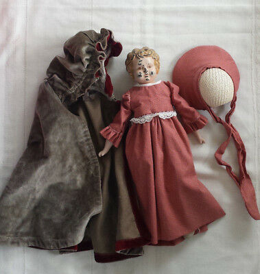 DOLL1900 Karl Standfuss JUNO Germany metal head Antique TIN Toy Cloth & Leather