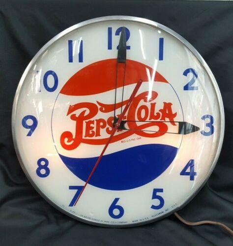 Vintage Telechron Pepsi:Cola Double Dot Round Wall Clock