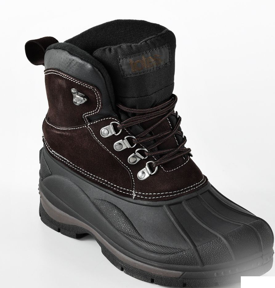 Totes Mens Boots Winter Waterproof Glacier Lace Up Brown Black Size 13