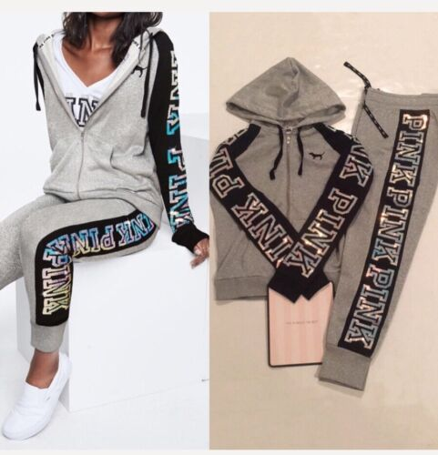 VS Pink sequin Bling shine full-zip hoodie & jogger Pant out