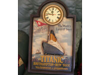 Titanic White Star Line hand painted 3-dimentional wooden framed clock