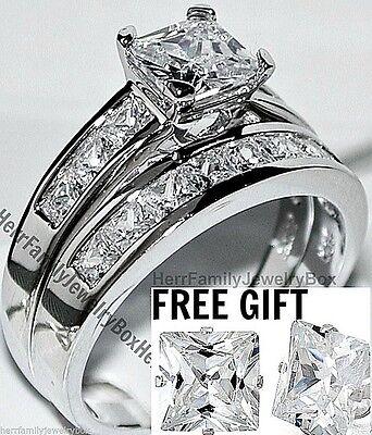 Diamond Wedding 14k Ring (14k White Gold Sterling Silver Princess cut Diamond Engagement Ring Wedding Set)