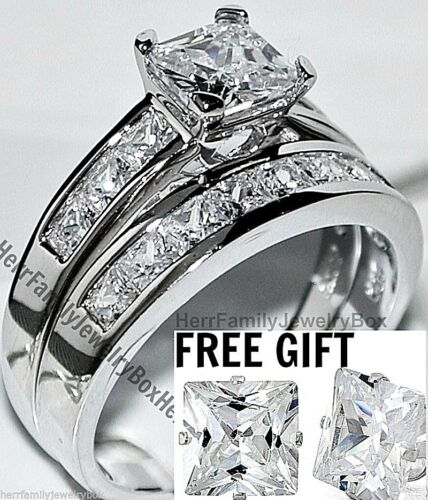 14k White Gold Sterling Silver Princess Diamond Cut Engagement Ring Wedding Set