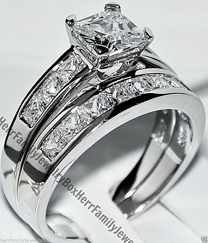 Купить Unbranded - 14k White Gold Sterling Silver Princess Diamond cut Engagement Ring Wedding Set