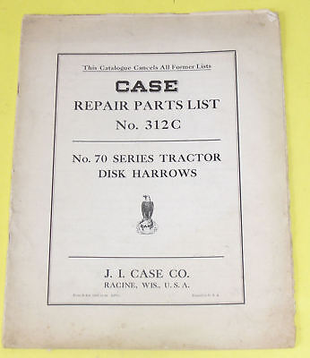 1935 Case 70 Tractor Disk Harrows Parts List -old Farm