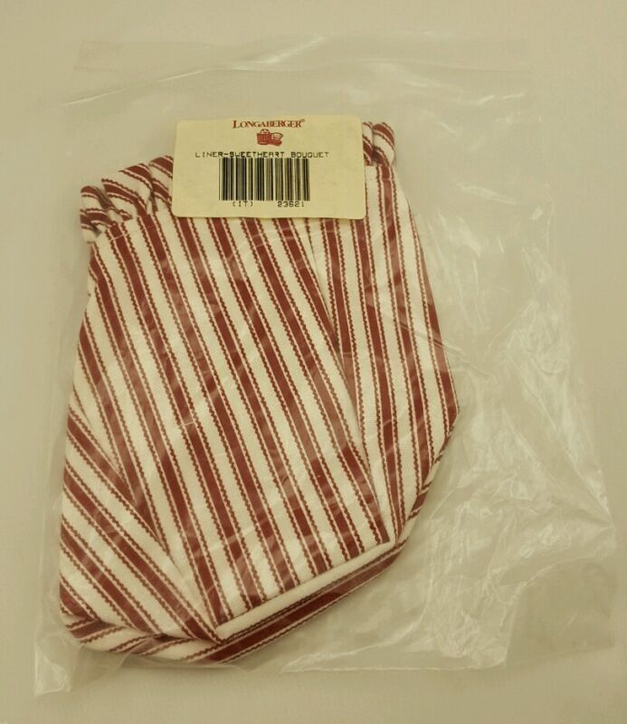 Longaberger Sweetheart Bouquet Basket Fabric Liner Red Ticking 23621 NEW