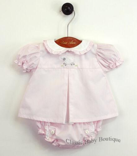 NWT Petit Ami Pink Lamb Ruffle Diaper Set Newborn Baby Girls Boutique Bloomers