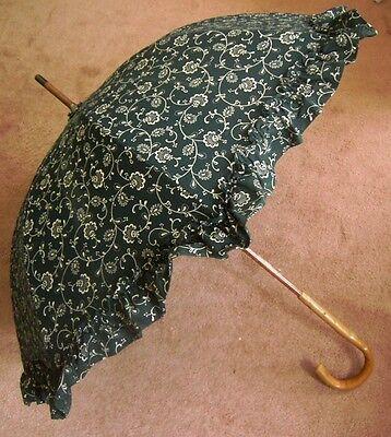 DOPPLER SCHIRME GREEN RUFFLE UMBRELLA Floral Cotton DIRNDL Print  MADE/AUSTRIA