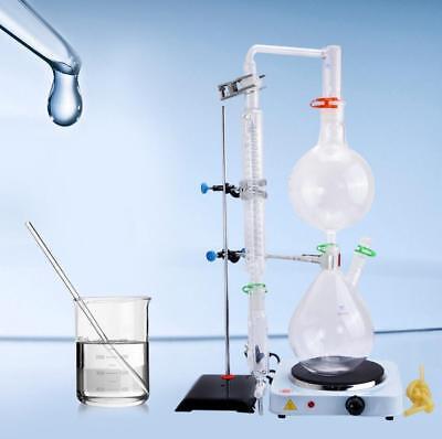 New 2000ml Lab Essential Oil Steam Distillation Apparatus Wgraham Condenser
