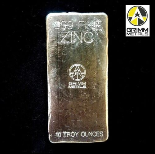 10 Troy Ounce .999 Fine Zinc Bullion Bar - Hand Poured & Stamped - Grimm Metals