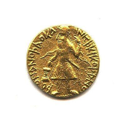 (AD 127/8-152) India Kushan Empire Gold AV Dinar Kanishka 1 Very Fine