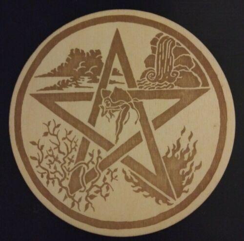 Round Pentacle Plaque Laser Engraved Wood Pagan Wiccan Pentagram