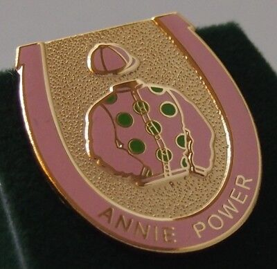 Annie Power enamel badge - in her racing colours