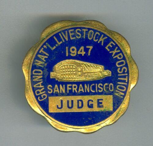 1947 Enameled Judges Badge, Grand National Livestock Exchange, San Francisco