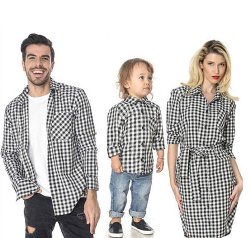 160104ccdf81 Details about Family Matching Father Mother Daughter Son Long Sleeve Black  Plaid Shirt Clothes