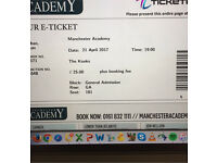 1 x ticket to see the Kooks at Manchester Academy 21st April