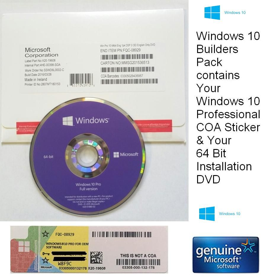 new sealed microsoft windows 10 pro professional 64 bit dvd coa license key ebay. Black Bedroom Furniture Sets. Home Design Ideas