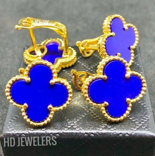 Blue Lapis Lazuli Four Leaf Clover Style Gold Flower European Clip Stud Earrings