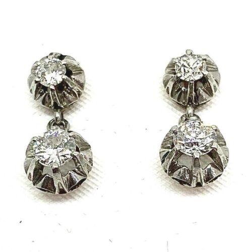 ANTIQUE Diamonds Platinum and 18k Earrings