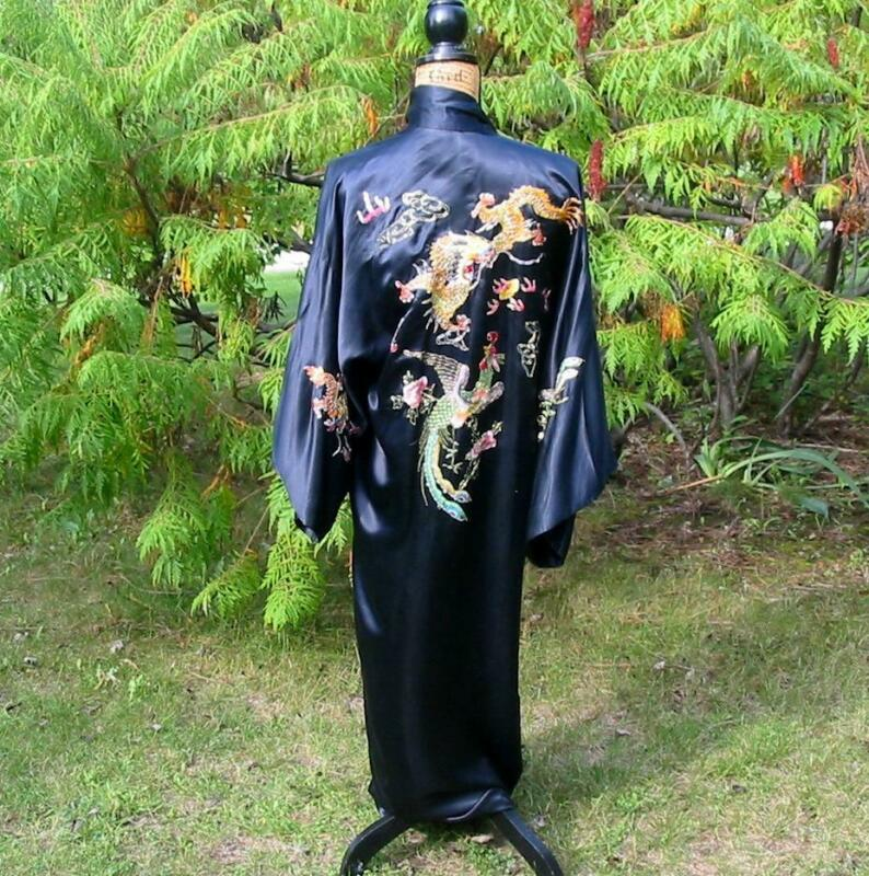 Gorgeous Vintage Chinese Embroidered Black Dragon Phoenix Long Silk Jacket Robe
