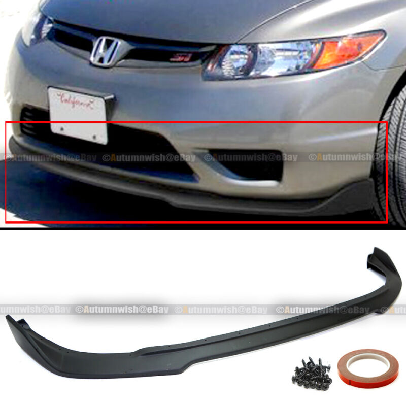 Fit 06-08 Civic 2Dr Coupe CS Style PU Unpainted Front Bumper Lip Body Kit Add On